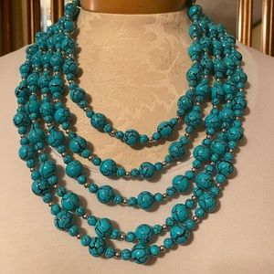 Multi-row beaded necklace